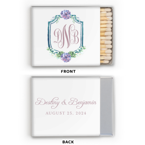 ForYourParty's personalized White Riviera Photo/Full Color Matchbox with Matte Mauve Ink Digital Print Colors and a Trendy Succulent Crest are a must-have for your next event—whatever the celebration!