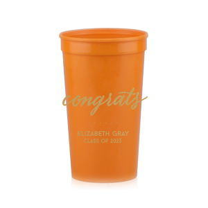 ForYourParty's chic White 16 oz Stadium Cup with Gold Ink Cup Ink Colors has a Congrats graphic and is good for use in Words, Hearts, Wedding themed parties and will make your guests swoon. Personalize your party's theme today.