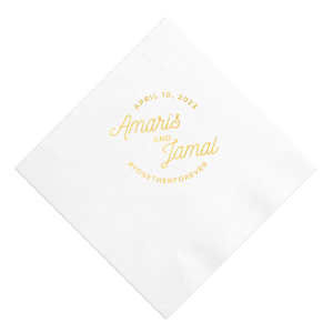 For Your Party's custom modern script name cocktail napkins will pair perfectly with your wedding cocktails. Add a gorgeous detail to your wedding décor with personalized wedding cocktail napkins.