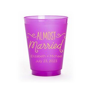 The ever-popular Purple 16 oz Frost Flex Color Cup with Matte Mimosa Yellow Ink Cup Ink Colors has a Almost Married 3 graphic and is good for use in Words, Bridal Shower themed parties and will look fabulous with your unique touch. Your guests will agree!