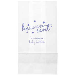 Our personalized Ivory Party Bag with Shiny Lavender Foil can't be beat. Showcase your style in every detail of your party's theme!