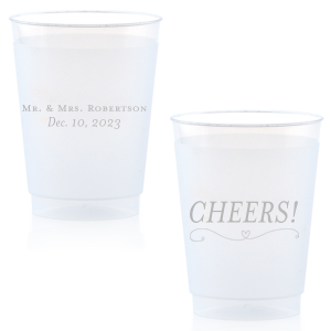 Personalized Silver Ink 16 oz Frost Flex Cup with Silver Ink Cup Ink Colors has a Simple Heart Flourish graphic and is good for use in Heart, Wedding themed parties and will give your party the personalized touch every host desires.