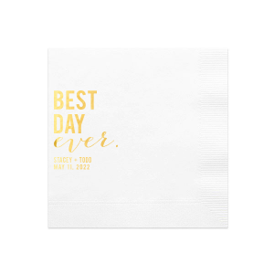 Our beautiful custom White Cocktail Napkin with Shiny 18 Kt Gold Foil will make your guests swoon. Personalize your party's theme today.