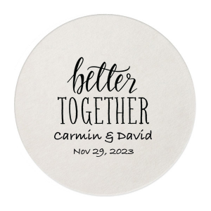 Create an instant party favorite with custom coasters! Personalize this Better Together design with the bride and groom's names and theme color for a cute and memorable touch to the wedding bar that guests can also take home as personalized party favors.