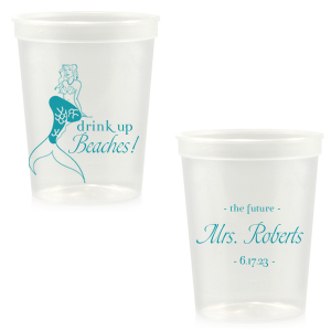 ForYourParty's elegant Clear 16 oz Stadium Cup with Matte Teal/Peacock Ink Cup Ink Colors has a Mermaid graphic and is good for use in Trendy, Beach/Nautical, Outdoors themed parties and can be customized to complement every last detail of your party.