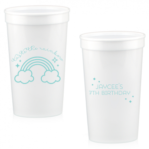 The ever-popular White 16 oz Stadium Cup with Matte Tiffany Blue Ink Cup Ink Colors has a Rainbow graphic and is good for use in St. Patricks Day, Baby Shower and Birthday themed parties and will make your guests swoon. Personalize your party's theme today.
