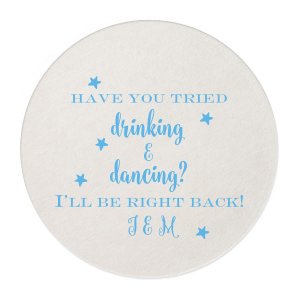 Our custom White Round Coaster with Matte Slate Gray Foil are a must-have for your next event—whatever the celebration!