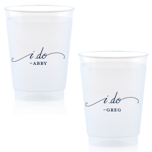 Our custom Matte Navy Ink 16 oz Frost Flex Cup with Matte Navy Ink Screen Print has a I Do graphic  is good for use in  Wedding themed parties and are a must-have for your next event—whatever the celebration!