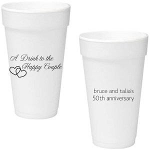 Personalized Matte Black Ink 16 oz Foam Cup with Matte Black Ink Print Color has a Interlocked Hearts graphic and is good for use in Wedding and Anniversary themed parties and couldn't be more perfect. It's time to show off your impeccable taste.