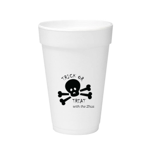 Our personalized 12 oz Styrofoam Cup with Matte Black Ink Cup Ink Colors has a Skull & Crossbones graphic and is good for use in Halloween themed parties and will impress guests like no other. Make this party unforgettable.