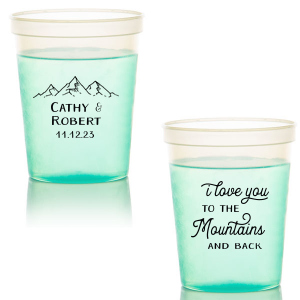 ForYourParty's personalized Green 16 oz Stadium Mood Cup with Matte Black Ink Cup Ink Colors has a Mountain Range graphic and is good for use in Adventure, Outdoors themed parties and can be customized to complement every last detail of your party.