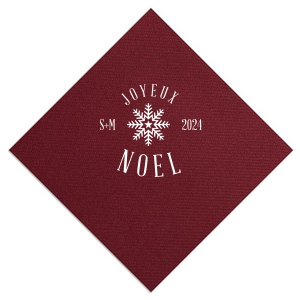 Our beautiful custom Merlot Cocktail Napkin with Matte White Foil has a Snowflake 3 graphic and is good for use in Christmas themed parties and couldn't be more perfect. It's time to show off your impeccable taste.