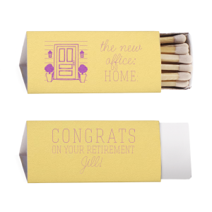 Our beautiful custom Poptone Mimosa Triangle Matchbox with Satin Plum Foil has a Door graphic and is good for use in Home themed parties and are a must-have for your next event—whatever the celebration!