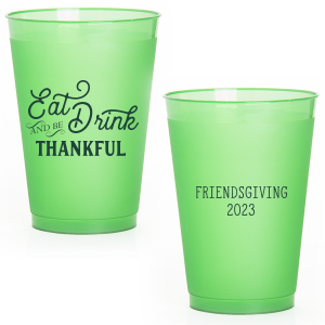 Our custom Green 12 oz Frost Flex Color Cup with Matte Spruce Cup Ink Colors will look fabulous with your unique touch. Your guests will agree!