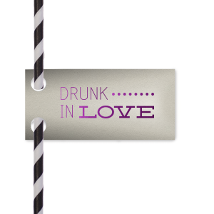 Custom Natural Gray Rectangle Straw Tag with Shiny Amethyst Foil Color will add that special attention to detail that cannot be overlooked.
