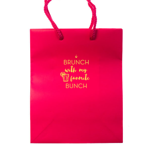 Personalized Hot Pink Euro Bag with Matte Mimosa Yellow Foil Color has a Drink 2 graphic and is good for use in Drinks themed parties and will give your party the personalized touch every host desires.