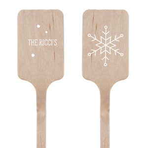 Personalized Matte White Round Stir Stick with Matte White Foil has a Snowflake graphic and is good for use in Holiday, New Years, Christmas themed parties and will add that special attention to detail that cannot be overlooked.