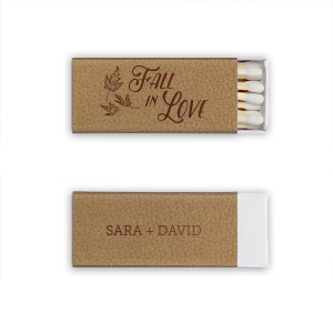 Our custom Natural Kraft/Latte Riviera Matchbox with Shiny Merlot Foil has a Three Leaves graphic and is good for use in Floral, Holiday, Thanksgiving themed parties and will impress guests like no other. Make this party unforgettable.