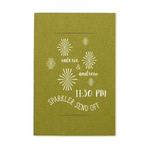 Personalized Poptone Dark Olive Large Sparkler Sleeve with Matte White Foil has a starburst stars graphic and is good for use in Lovely Press, Wedding themed parties and couldn't be more perfect. It's time to show off your impeccable taste.