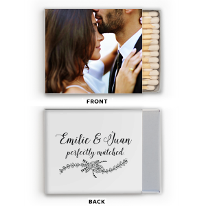 Click Customize More to Upload your Photo and make edits. ForYourParty's chic White Riviera Photo/Full Color Matchbox with Matte Black Ink Print Color has a Rose Flourish graphic and is good for use in Wedding themed parties and will add that special attention to detail that cannot be overlooked.