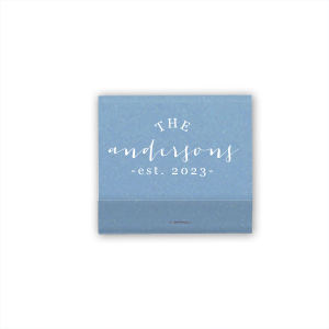 ForYourParty's chic Linen Slate Classic Matchbox with Matte Ivory Foil has a Leaves graphic and is good for use in Floral themed parties and can be customized to complement every last detail of your party.
