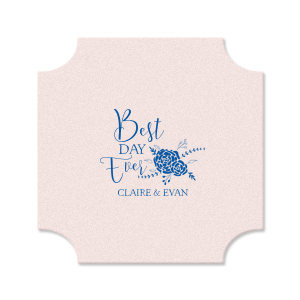 Our custom Blush with Kraft back Nouveau Coaster with Matte Royal Blue Foil Color has a Floral Vine RSVP graphic and is good for use in Lovely Press themed parties and can be personalized to match your party's exact theme and tempo.