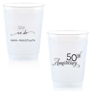Our custom Gold Ink 12 oz Frost Flex Cup with Gold Ink Screen Print has a We Do graphic and is good for use in Words, Wedding themed parties and will impress guests like no other. Make this party unforgettable.