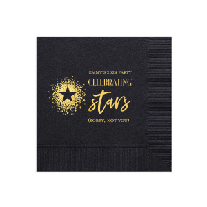 Our beautiful custom Black Cocktail Napkin with Shiny 18 Kt Gold Foil has a Dotted Star graphic and is good for use in Star, Celebration and Graduation themed parties and will give your party the personalized touch every host desires.