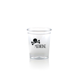 Custom Matte Black Ink Plastic Shot Glass with Matte Black Ink Cup Ink Colors has a Skull & Crossbones graphic and is good for use in Halloween themed parties and are a must-have for your next event—whatever the celebration!