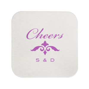 ForYourParty's chic Eggshell Round Coaster with Satin Plum Foil Color has a Fleur de Accent graphic and is good for use in Accents themed parties and will make your guests swoon. Personalize your party's theme today.