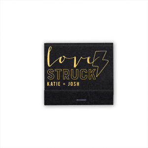 Custom Natural Black 30 Strike Matchbook with Shiny 18 Kt Gold Foil has a Lightening Bolt graphic and is good for use in Birthday, Kid Birthday, Accents themed parties and will make your guests swoon. Personalize your party's theme today.