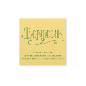 Personalized Poptone Mimosa Square Business/Calling Card with Satin Leaf Foil has a Bonjour graphic and is good for use in french, floral and personal events and are a must-have for your next event—whatever the celebration!