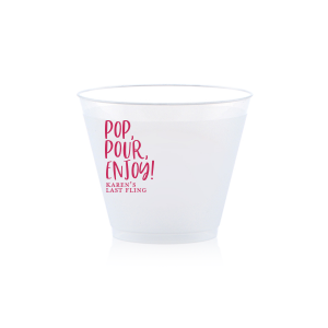 Our personalized Matte Fuchsia Ink 9 oz Frost Flex Cup with Matte Fuchsia Ink Cup Ink Colors will look fabulous with your unique touch. Your guests will agree!