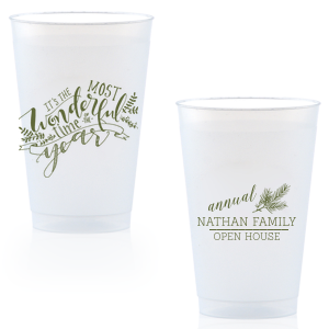 Our custom Matte Army Green Ink 16 oz Frost Flex Cup with Matte Army Green Ink Cup Ink Colors has a The Most Wonderful Time graphic and a Pine graphic and is good for use in Holiday and Christmas themed parties and will add that special attention to detail that cannot be overlooked.
