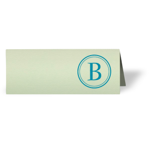 ForYourParty's chic Poptone Mint Runway Place Card with Satin Teal / Peacock Foil has a Circle B graphic and is good for use in Name themed parties and are a must-have for your next event—whatever the celebration!