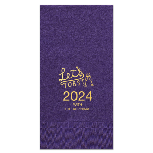 Custom Amethyst Cocktail Napkin with Shiny 18 Kt Gold Foil has a Let's Toast graphic and is good for use in Words, Drinks, Wedding themed parties and will impress guests like no other. Make this party unforgettable.