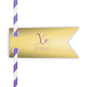 Dress up drinks with your theme! Add this custom straw tag in Poptone Mimosa with Amethyst foil and a purple straw for a sweet feminine addition. Pair your name with our hand lettered calligraphy XO for a personal touch guests will love.