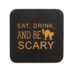 Custom Kraft with Blush back Nouveau Coaster with Matte Black Foil has a Black Cat graphic and is good for use in Animals, Halloween themed parties and can be personalized to match your party's exact theme and tempo.
