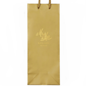 Custom Shiny 18 Kt Gold Small Cellophane Bag with Shiny 18 Kt Gold Foil has a Mr And Mrs 3 graphic and is good for use in Wedding, Words, Anniversary themed parties and will impress guests like no other. Make this party unforgettable.