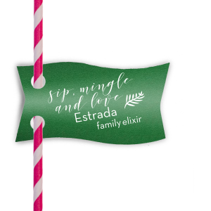 ForYourParty's personalized Natural Leaf Wave Straw Tag with Matte White Foil will give your party the personalized touch every host desires.