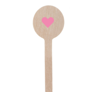 These sweet Round Stir Sticks were designed by Martha Stewart Weddings with Matte Ballet Pink Foil and a Solid Heart graphic. Personalize to match your party's exact theme and tempo.