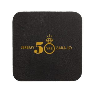 ForYourParty's chic Eggshell Square Coaster with Shiny 18 Kt Gold Foil Color has a Diamond Ring graphic and is good for use in Wedding themed parties and are a must-have for your next event—whatever the celebration!