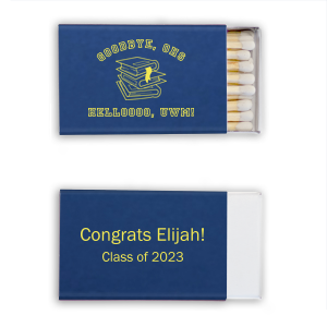 Our personalized Natural Royal/Lt. Navy Classic Matchbox with Matte Mimosa Yellow Foil Color has a Books Stacked graphic and is good for use in Graduation themed parties and will make your guests swoon. Personalize your party's theme today.