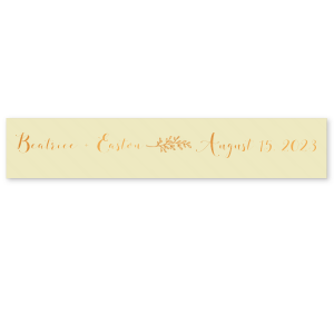 "Our custom Pearl Gold 5/8"" Satin Ribbon with Shiny Copper Foil has a Leaf graphic and is good for use in wedding and anniversary parties and can be customized to complement every last detail of your party."
