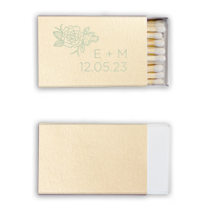 Add your initials and date to these shimmery Ivory matchbooks featuring our trendy Peony graphic. Share with wedding guests to use during your sparkler send off and take home for a personalized party favor.