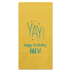 ForYourParty's chic Sunflower Cocktail Napkin with Satin Teal / Peacock Foil Color has a Yay graphic and is good for use in Words themed parties and couldn't be more perfect. It's time to show off your impeccable taste.