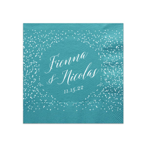 Our personalized Teal Cocktail Napkins with Bleed with Matte White Foil has a Glitter Accommodation graphic and is good for use in Lovely Press themed parties and can be personalized to match your party's exact theme and tempo.