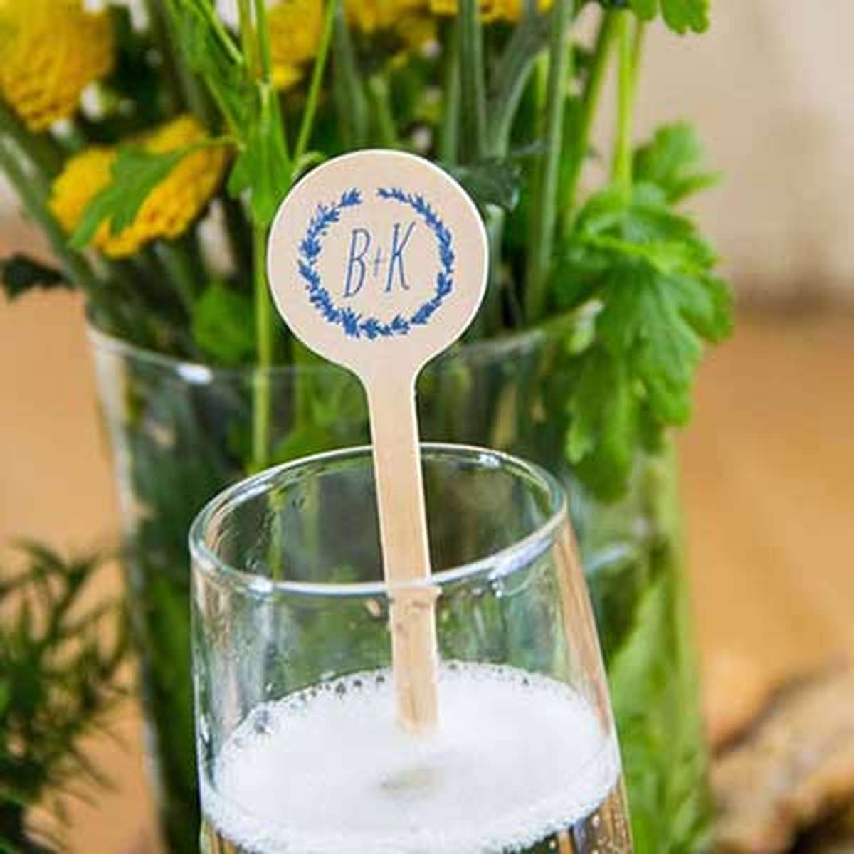 personalized wedding cocktail stir stick