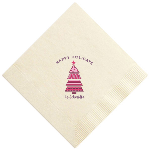 The ever-popular Ivory Photo/Full Color Cocktail Napkin with Matte Eggplant Ink Digital Print Colors couldn't be more perfect. It's time to show off your impeccable taste.