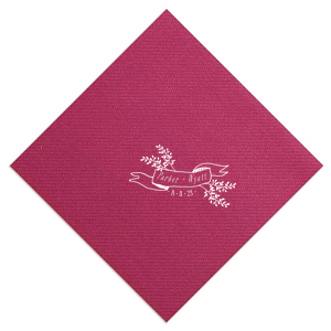 Add the perfect touch to your wedding bar with this elegant personalized Plum cocktail napkin. Stamp your names and wedding date within the ribbon frame for a lovely, elegant detail.